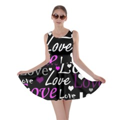 Valentine s day pattern - purple Skater Dress