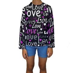Valentine s day pattern - purple Kids  Long Sleeve Swimwear
