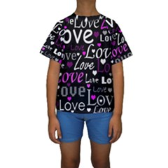 Valentine s day pattern - purple Kids  Short Sleeve Swimwear