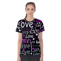 Valentine s day pattern - purple Women s Cotton Tee