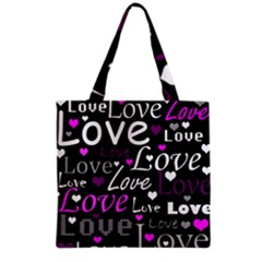 Valentine s day pattern - purple Grocery Tote Bag