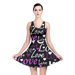 Valentine s day pattern - purple Reversible Skater Dress