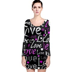 Valentine s day pattern - purple Long Sleeve Bodycon Dress