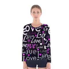 Valentine s day pattern - purple Women s Long Sleeve Tee