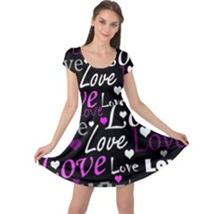 Valentine s day pattern - purple Cap Sleeve Dresses