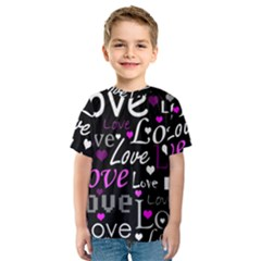 Valentine s day pattern - purple Kids  Sport Mesh Tee