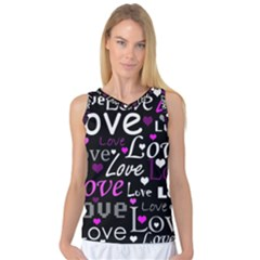 Valentine s day pattern - purple Women s Basketball Tank Top