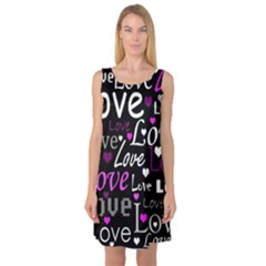 Valentine s day pattern - purple Sleeveless Satin Nightdress