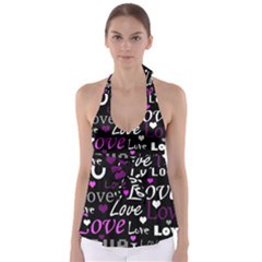 Valentine s day pattern - purple Babydoll Tankini Top