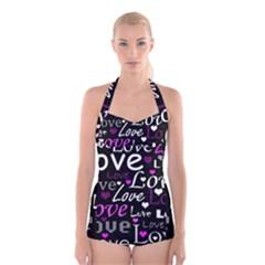 Valentine s day pattern - purple Boyleg Halter Swimsuit