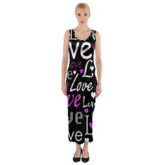 Valentine s day pattern - purple Fitted Maxi Dress