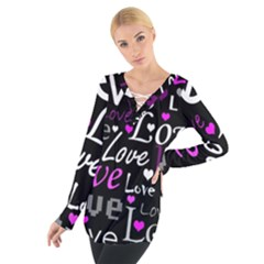 Valentine s day pattern - purple Women s Tie Up Tee