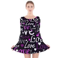 Valentine s day pattern - purple Long Sleeve Velvet Skater Dress