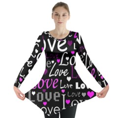 Valentine s day pattern - purple Long Sleeve Tunic