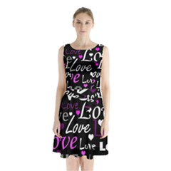 Valentine s day pattern - purple Sleeveless Chiffon Waist Tie Dress