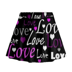 Valentine s day pattern - purple Mini Flare Skirt