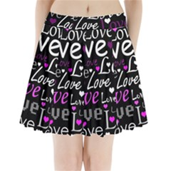 Valentine s day pattern - purple Pleated Mini Skirt