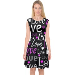 Valentine s day pattern - purple Capsleeve Midi Dress