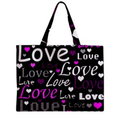 Valentine s day pattern - purple Medium Zipper Tote Bag