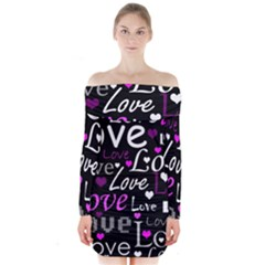 Valentine s day pattern - purple Long Sleeve Off Shoulder Dress