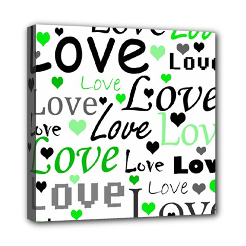 Green  Valentine s day pattern Mini Canvas 8  x 8