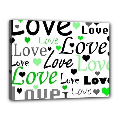 Green  Valentine s day pattern Canvas 16  x 12