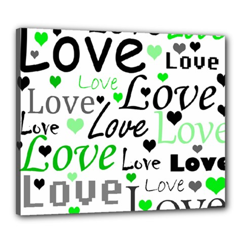 Green  Valentine s day pattern Canvas 24  x 20