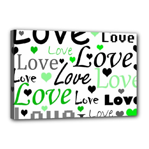 Green  Valentine s day pattern Canvas 18  x 12