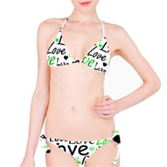 Green  Valentine s day pattern Bikini Set