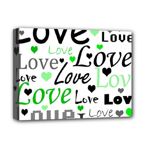 Green  Valentine s day pattern Deluxe Canvas 16  x 12