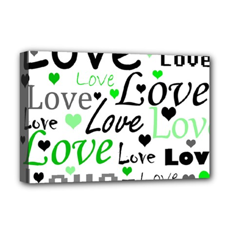 Green  Valentine s day pattern Deluxe Canvas 18  x 12