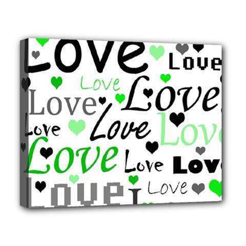 Green  Valentine s day pattern Deluxe Canvas 20  x 16