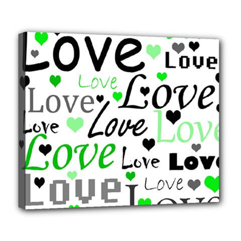 Green  Valentine s day pattern Deluxe Canvas 24  x 20