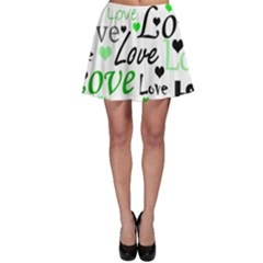 Green  Valentine s day pattern Skater Skirt