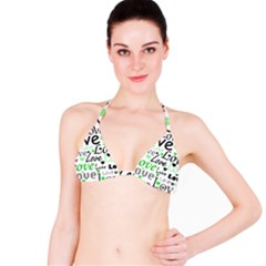 Green  Valentine s day pattern Bikini Top