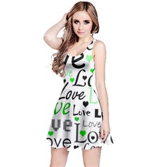 Green  Valentine s day pattern Reversible Sleeveless Dress