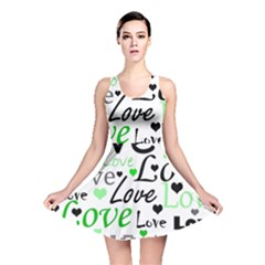 Green  Valentine s day pattern Reversible Skater Dress