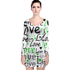 Green  Valentine s day pattern Long Sleeve Bodycon Dress