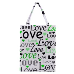 Green  Valentine s day pattern Classic Tote Bag