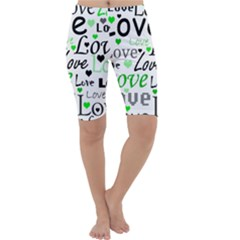 Green  Valentine s day pattern Cropped Leggings
