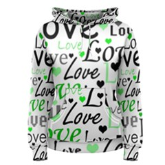 Green  Valentine s day pattern Women s Pullover Hoodie