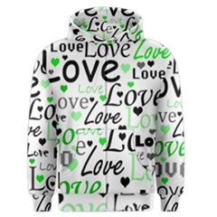 Green  Valentine s day pattern Men s Zipper Hoodie