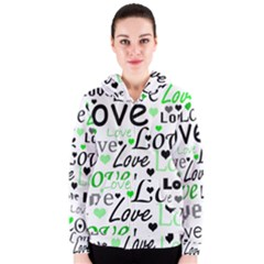 Green  Valentine s day pattern Women s Zipper Hoodie