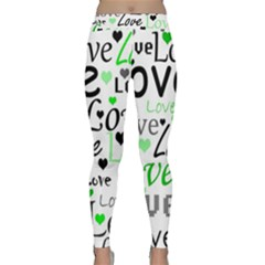 Green  Valentine s day pattern Classic Yoga Leggings