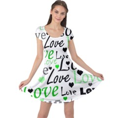 Green  Valentine s day pattern Cap Sleeve Dresses