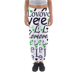 Green  Valentine s day pattern Women s Jogger Sweatpants