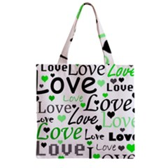 Green  Valentine s day pattern Zipper Grocery Tote Bag