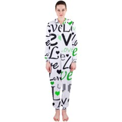 Green  Valentine s day pattern Hooded Jumpsuit (Ladies)