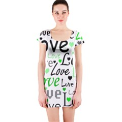 Green  Valentine s day pattern Short Sleeve Bodycon Dress