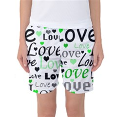 Green  Valentine s day pattern Women s Basketball Shorts